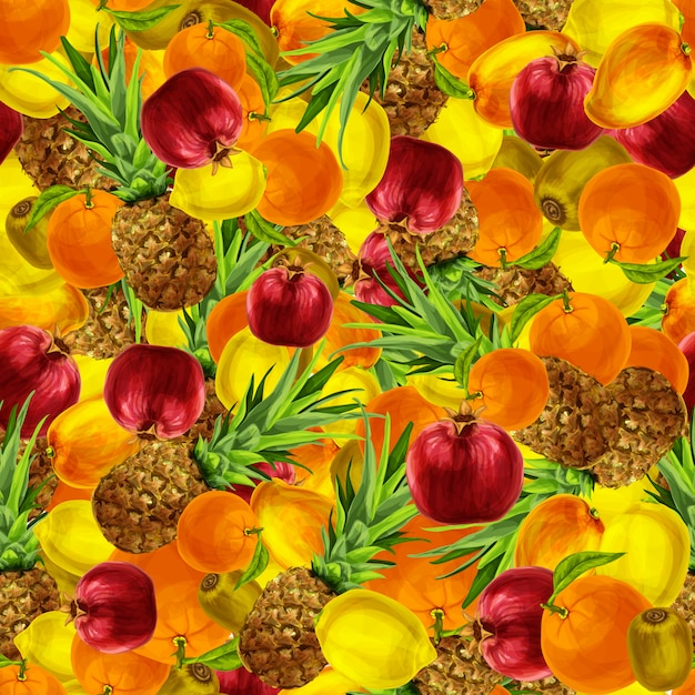 Tropical fruits seamless pattern Free Vector