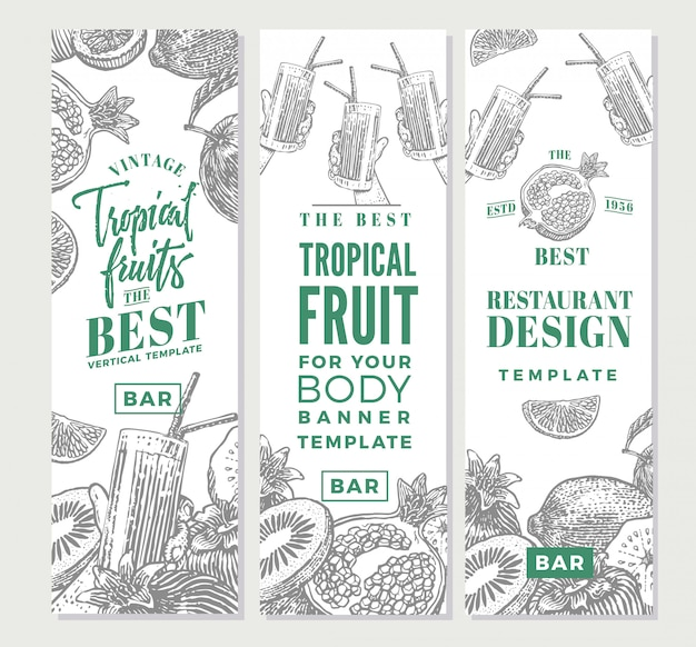 Tropical fruits sketch vertical banners Free Vector