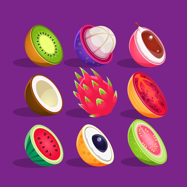 Tropical fruits sliced in half set of bright icons Premium Vector