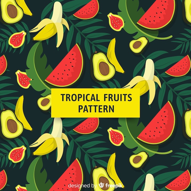 Tropical fruits Free Vector