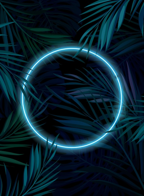 Premium Vector Tropical Glowing Neon Frame Dark Night Jungle Palm Leaves Summer Background Illustration Fall collection gifts under $50 gifts under 75 new custom creations trending face masks and neck buffs vendors neon, dark, summer, design. https www freepik com profile preagreement getstarted 8365828