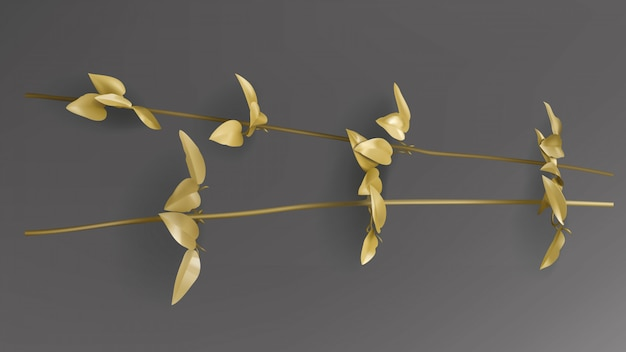 Tropical gold leaves, liana twig on dark black background vector. Free Vector