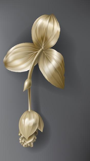 Тропический золотой цветок мединиллы на темно-черном Бесплатные векторы