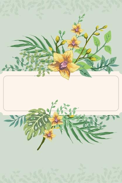 Tropical hand draw retro flower leaf postcard invitation Premium Vector