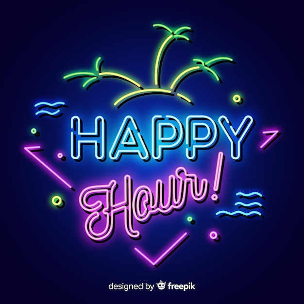 Tropical happy hour poster with neon design Free Vector
