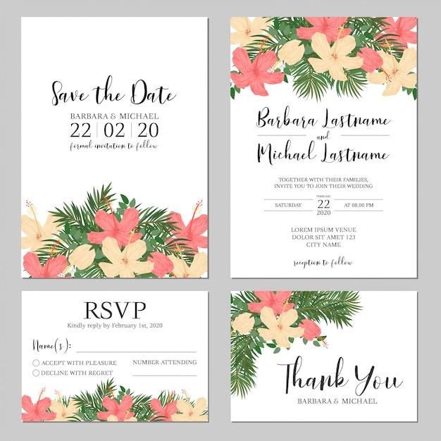 Tropical hibiscus and palm wedding invitation Premium Vector