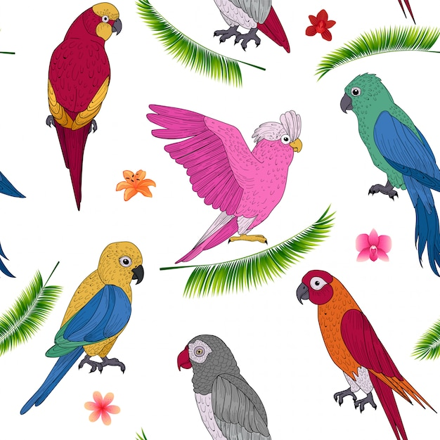 Tropical holidays seamless pattern with exotic parrots and flowers Premium Vector