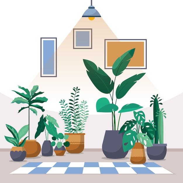 熱帯観葉植物緑の装飾的な植物インテリアハウスイラスト Premiumベクター