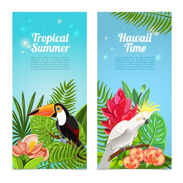 Tropical island birds vertical banners set Free Vector