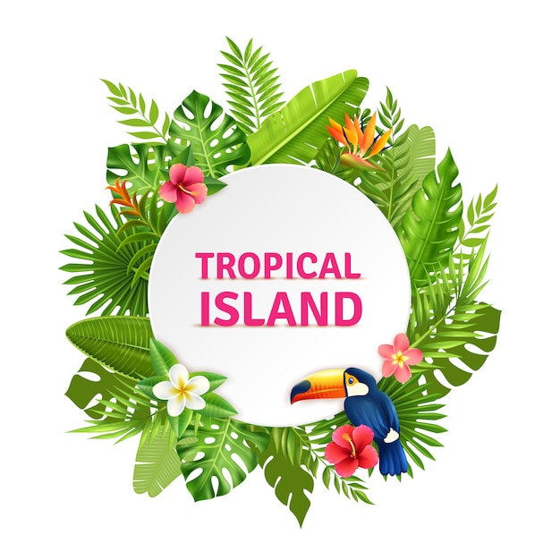Tropical island flora and toucan frame Premium Vector