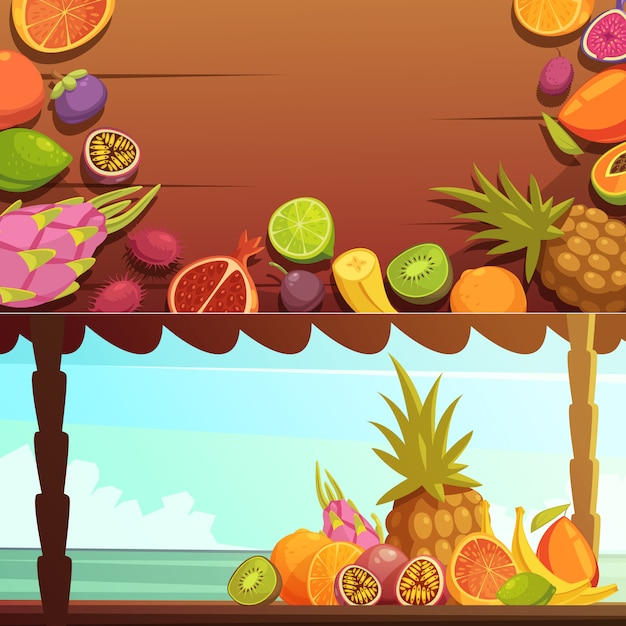Tropical island fruit banners set Free Vector