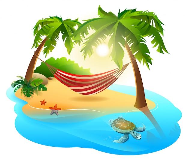 Tropical island and hammock among palm trees Premium Vector
