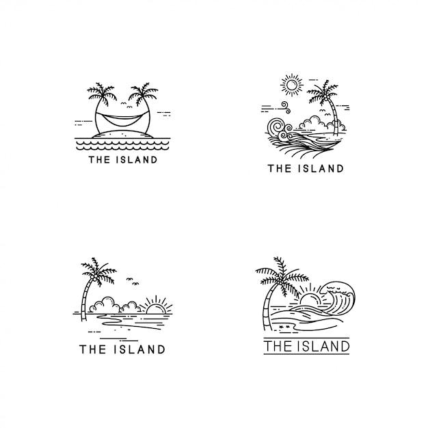 Tropical island logo set Premium Vector