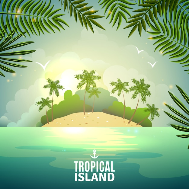 Tropical island nature poster Free Vector