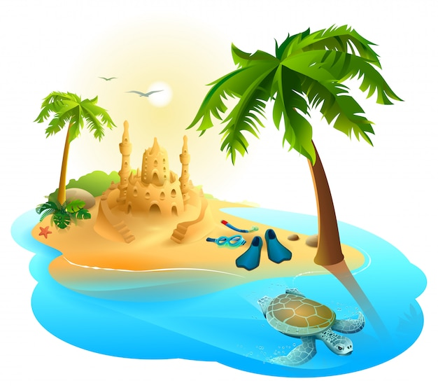 Tropical island paradise beach. palm tree, sand castle, fins, sea turtle Premium Vector