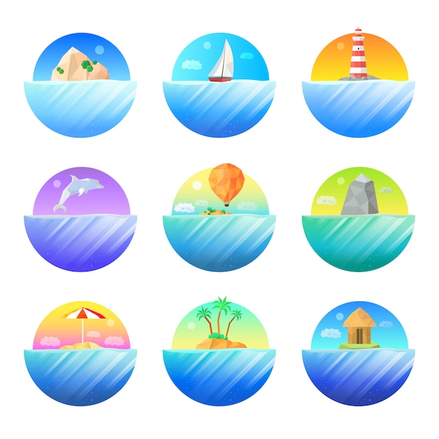 Tropical island round colorful  icons set Free Vector