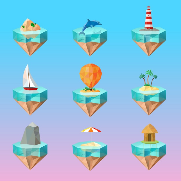 Tropical island symbols polygonal icons set Free Vector