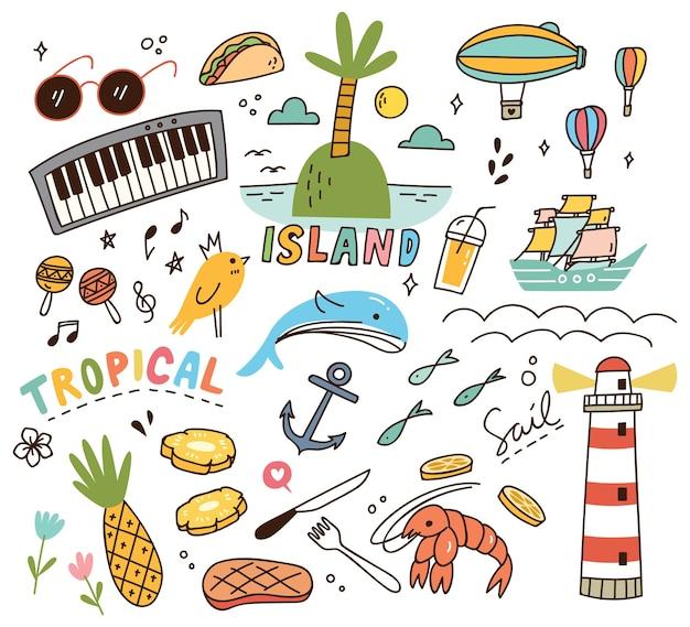 Tropical island theme doodle Premium Vector
