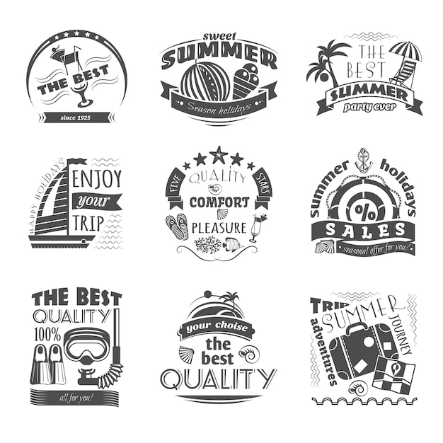 Tropical island vacation journey travel agency black labels set for