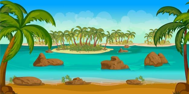 Tropical islands game background Premium Vector
