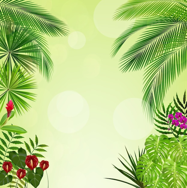 Tropical jungle on green background Premium Vector