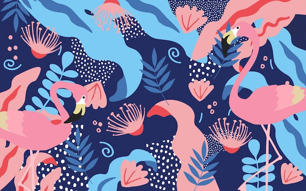 Tropical jungle leaves background with flamingos Premium Vector