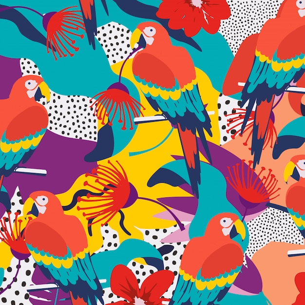 Tropical jungle leaves background with parrots Premium Vector