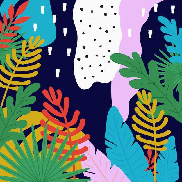 Tropical jungle leaves background Premium Vector