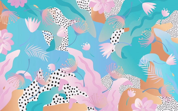 Tropical jungle leaves and flowers background Premium Vector