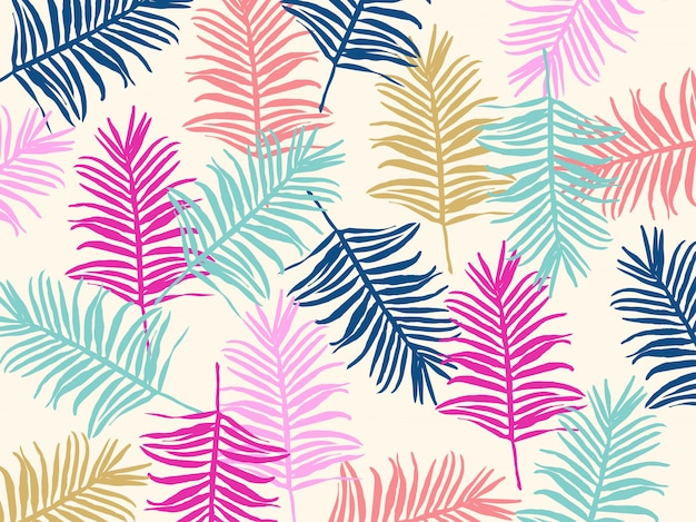 Tropical jungle leaves seamless pattern background Premium Vector