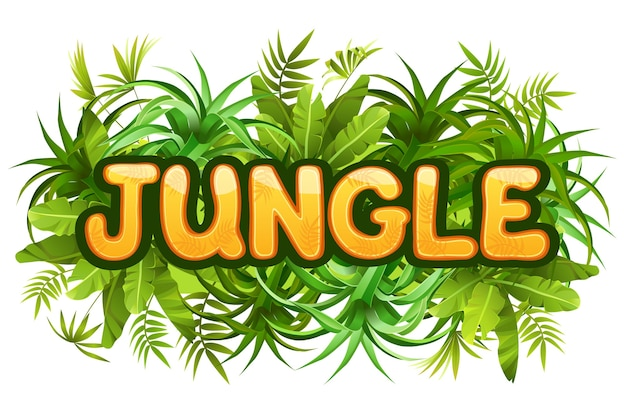 Tropical jungle lettering with leaves. Free Vector