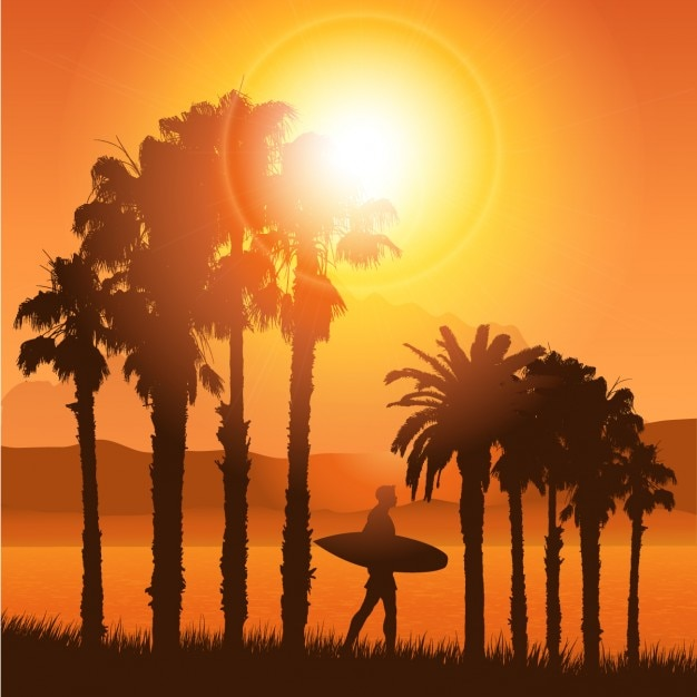 Tropical Landscape Silhouette with surfer Vector | Free ...