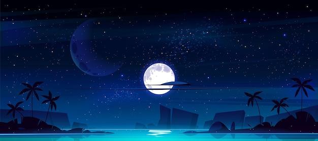 밤에 바다 만 열 대 풍경 무료 벡터