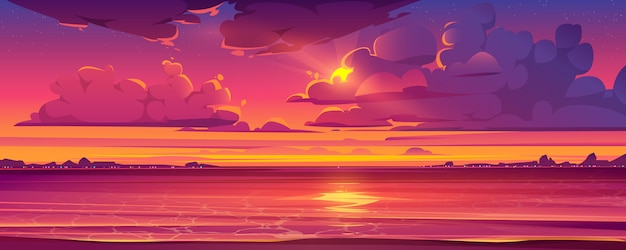 Tropical landscape with sunset and ocean Free Vector