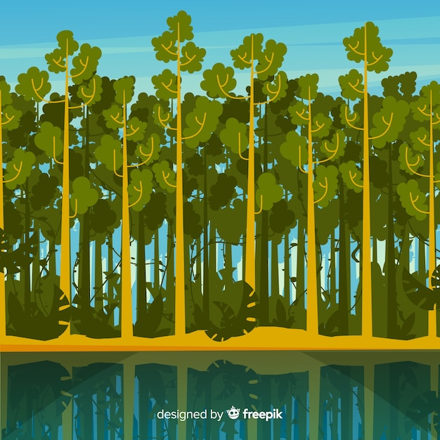 Tropical landscape with trees and river Free Vector