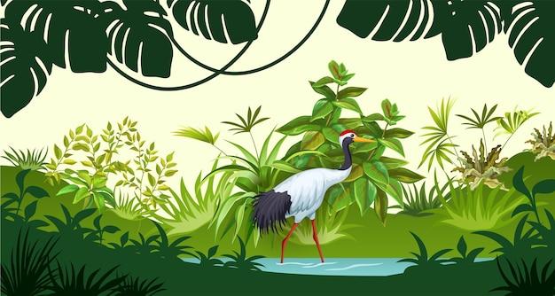 熱帯の風景。 無料ベクター