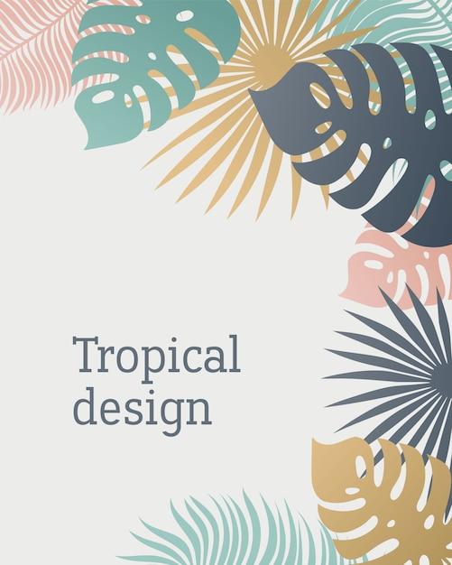 Tropical leaf template in pastel colors. Premium Vector