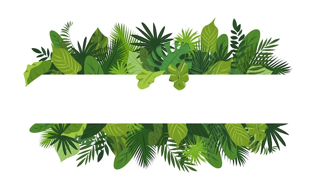Рамка из тропических листьев в мультяшном стиле Premium векторы
