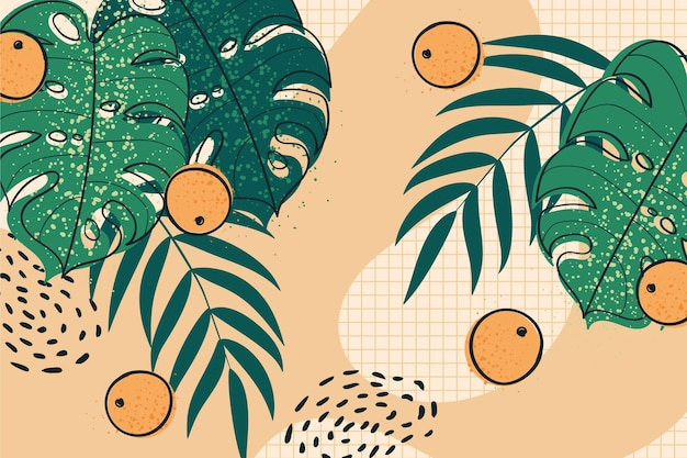 Тропические листья и цитрусовые зум фон Premium векторы