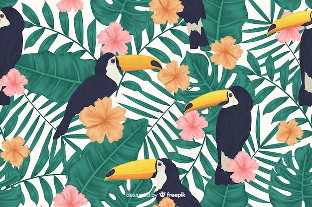 熱帯の葉とエキゾチックな鳥の背景 無料ベクター