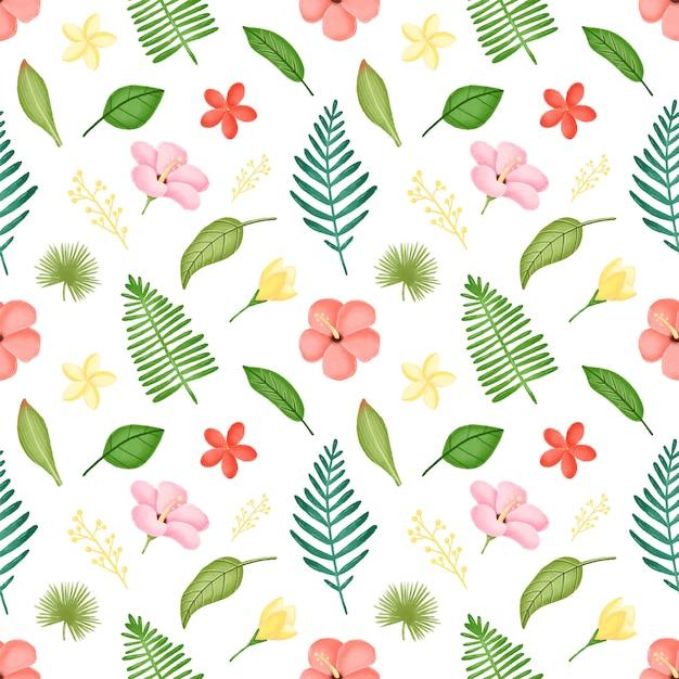 熱帯の葉と花のシームレスなパターン。ハイビスカスの花とヤシの葉のシームレスなパターン。 Premiumベクター
