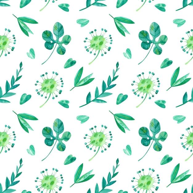 Тропические листья и росянка акварель бесшовные модели. экзотическая зелень джунглей Бесплатные векторы