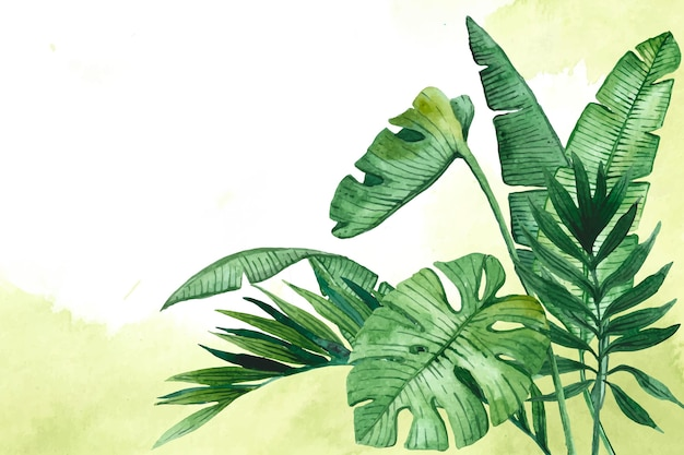 ズームのための熱帯の葉の背景 無料ベクター