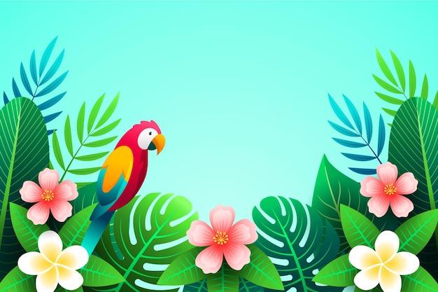 カラフルなオウムと熱帯の葉の背景 無料ベクター