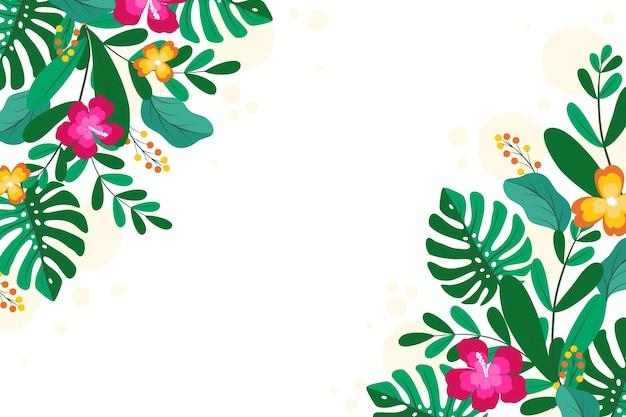 Sfondo di foglie tropicali per lo zoom Vettore gratuito