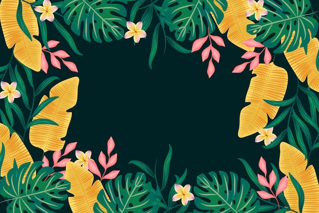 Tropical leaves background for zoom Free Vector