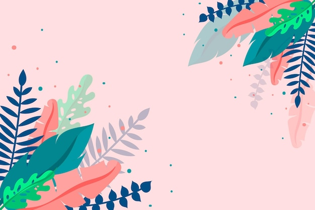 Tropical leaves background Free Vector