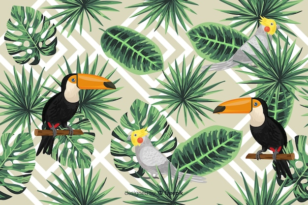 Tropical leaves and birds background Free Vector