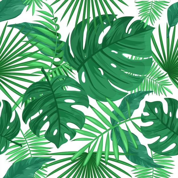 열 대 잎 색상 완벽 한 패턴입니다. 흰색 바탕에 정글 식물입니다. 녹색 잎, 이국적인 열대 식물, 단풍. 장식용 식물 섬유, 벽지, 포장지 디자인 프리미엄 벡터