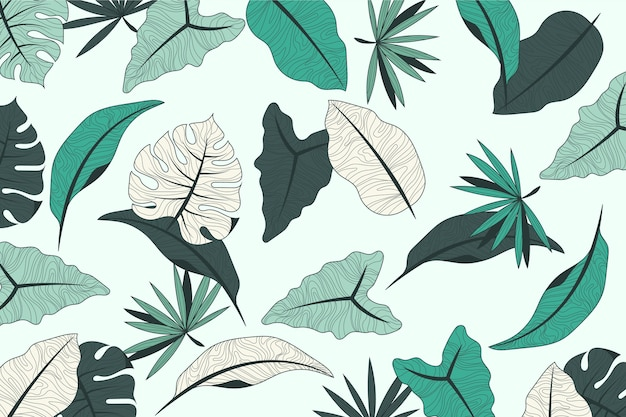 Tropical leaves design with pastel background Free Vector